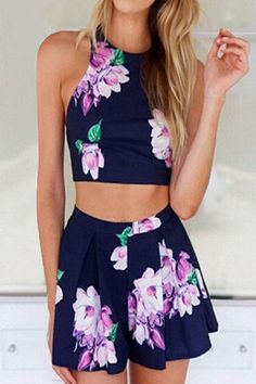 Sleeveless Floral Crop Top + High-Waisted Shorts Twinset