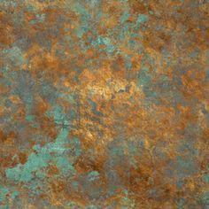 Cobre y patina de óxido de cobre, verdín.