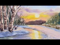 What Can You Do With 4 Colors & 1 Brush? Learn to paint this pretty snow scene in watercolor with one brush. You don't need a ton of supplies t. Watercolor Landscape, Landscape Paintings, Watercolor Paintings, Watercolors, Landscapes, The Frugal Crafter, Watercolour Tutorials, Painting Tutorials, Painting Snow