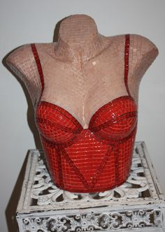 'Red Bustier' Glass mosaic sculpture by artist Mark Roberts