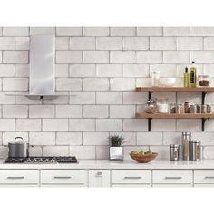 Esenzia Blanco Ceramic Tile - 6 x 12 - 100410968 Kitchen Wall Tiles, Kitchen Backsplash, Kitchen Dining, Kitchen Cabinets, Home Interior, Kitchen Interior, Dyi, Small Space Kitchen, Ideas Hogar
