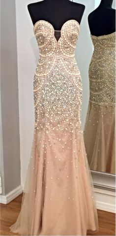 Fully Beaded Prom Dress with Pearls#prom #promdress #dress #eveningdress #evening #fashion #love #shopping #art #dress #women #mermaid #SEXY #SexyGirl #PromDresses