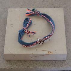 Sailor's Bracelet / Antique Silver Anchor Charm / Denim Ribbon / Neon Braided Cord / Summer Jewelry / Beach Bracelet / Wish / Friendship by saltrabbit on Etsy