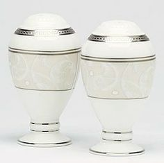 """Noritake - Satin Lace Salt & Pepper . $82.00. The Satin Lace Salt & Pepper 3 3/4"""" is part of Noritake's Satin Lace pattern. Product Features Dishwasher Safe Crafted from high-quality bone china World famous Noritake quality, design and value Practical for Elegant dining Full line of coordinating pieces are also available Company Description Noritake has been delivering beauty and superior quality to dinner tables around the world since 1904. Their superior dedication to arti..."""