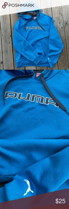PUMA Men's Hoodie with Pocket in Blue--Large Blue hoodie by PUMA. Color is blue with grey and white accents. Size large. Puma Shirts Sweatshirts & Hoodies