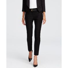 Ann Taylor Petite Modern Cotton Twill Ankle Pants (€68) ❤ liked on Polyvore featuring pants, capris, black, slim ankle pants, slim pants, ann taylor, black trousers and slim fit pants