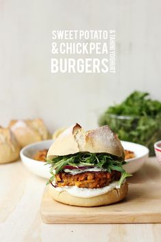 sweet potato and chickpea burgers with tahini yoghurt.
