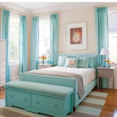 Girl's Bedroom. I really do love this idea, and the colors. this would be perfect for a beach house or condo.