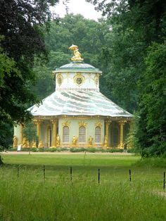 The Chinese Tea House is part of the Sanssouci Park in Potsdam, Germany.