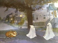 Two ghosts and a walking jack-o'-lantern Scary Halloween Decorations, Halloween Trick Or Treat, Halloween Pictures, Halloween Ghosts, Halloween Cards, Holidays Halloween, Vintage Halloween, Happy Halloween, Halloween Stuff