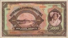 Banknotes of the Czechoslovak koruna Czechoslovak koruna Czechoslovakian banknotes 5000 Czech Korun banknote of 1920 issue) . Vintage World Maps, Retro, Prints, Czech Republic, European Countries, Joseph, Art Nouveau, Silver, Gold