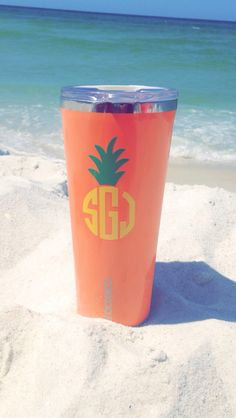 Loving my pineapple monogram on my Corkcicle tumbler all from The Cotton Market! It works great to keep my drink ice cold on the beach Vinyl Crafts, Vinyl Projects, Vinyl Monogram, Monogram Cups, Monogram Gifts, Pineapple Monogram, I Need Vitamin Sea, Cute Cups, Yeti Cup