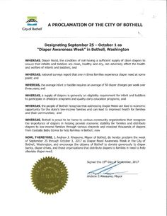 BOTHELL, WA – Mayoral proclamation recognizing Diaper Need Awareness Week (Sept 25-Oct 1) #DiaperNeed Diaperneed.org