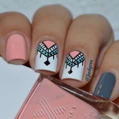 Tribal and geometric nail art. Peach, gray, black, white and green nails. Nail design. Polishes. Polish. CLICK.TO.SEE.MORE.eldressico.com