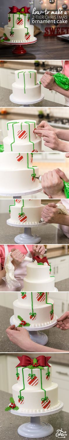 How-To Make a 2-Tier Christmas Ornament Cake