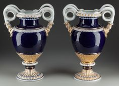 A Pair of Meissen Porcelain Snake Handled Vases, Meissen, Germany, 19th century.