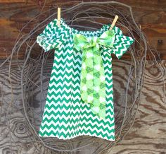 Girls Green Chevron  Dress Peasant Dress by SouthernSister2, $30.00