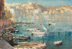 Edward Seago - Ponza Harbour
