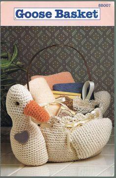 89b35ac30802 Amigurumi Crochet Pattern - Goose Basket Pattern - Vintage Crochet Pattern  - Annie s Attic 8B007
