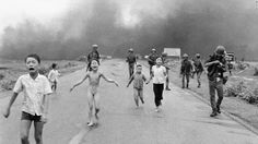 Associated Press photographer Nick Ut photographed terrified children running from the site of a napalm attack during the Vietnam War in June 1972. A South Vietnamese plane accidentally dropped napalm on its own troops and civilians. Nine-year-old Kim Phuc, center, ripped off her burning clothes while fleeing. The image communicated the horrors of the war and contributed to the growing anti-war sentiment in the United States. After taking the photograph, Ut took the children to a hospital.