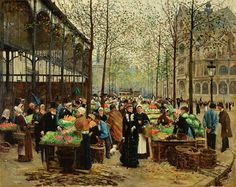 Jean Beraud - Les Halles (1879)  (The Belly of Paris, Émile Zola).