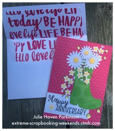 Using Close To My Heart products gives me a beautiful coordinated project. I used CTMH Flower Market Cricut Collection to make the card and CTMH Artfully Sent Cricut Collection to make the envelope.