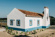 Step Into Christian Louboutin's Gorgeous Portugal Abode | Via The Wall Street Journal | 4/10/2016 One of several structures on Christian Louboutin's property in Melides, Portugal. Dubbed the boathouse, it is painted in the white-and-blue style typical of Portugal's Alentejo region #Portugal