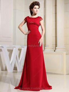 A-line Bateau Chiffon Sweep Train Beading Prom Dresses#02012604