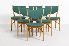 BO63 dining chairs in beech with emerald green upholsteryDesign by Finn Juhl in 1952.Produced by Bovirke in Denmark