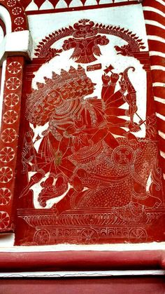 Ravana, ten headed demon , Kaavi kale or Kaavi art on the walls of Ram Mandir, honnavar