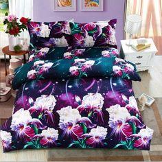 OKCO Flower 3d bedding set,Home textiles 4pcs family set. include: Duvet cover/sheet/pillowcase,Brazil Free Shipping