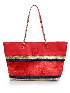 8722dd4adfcf Tory Burch - Marion Straw   Leather Tote ( )