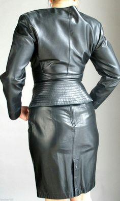 Leather skirt and jacket ensemble