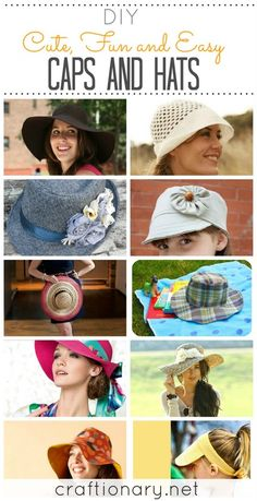 Caps hats for women to make for summer with these DIY tutorials. Make straw, bucket, floppy, crochet, reversible and more hat/ fedora/ caps with easy ideas