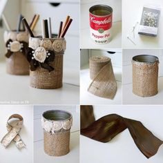 Shabby Chic Burlap Pencil Holder