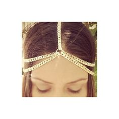 Pierced Gold Metal Layered Hair Accessory featuring polyvore, women's fashion, accessories, hair accessories and gold