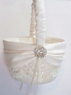Wedding Flower Girl Basket with Beaded Alencon Lace, Ivory Satin Sash Cinched by Crystals - The MIRANDA Basket