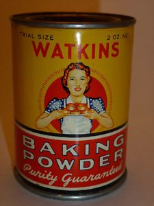 "Watkins Baking Powder; my Daddy was ""The Watkins Man"" the first 9 years of my life. I still buy their vanilla, pepper and cinnamon...thee best."