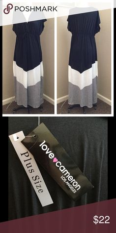 """New Love Cameron maxi dress size 1X See pics, has stretchable waist, chest size is 44"""", polyester/rayon/spandex. Love cameron Dresses Maxi"""