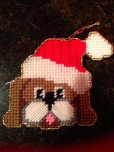 NEW DOG WITH SANTA HAT  Christmas Ornament - Handmade on Plastic Canvas SO CUTE