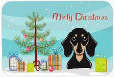 Christmas Tree and Smooth Black and Tan Dachshund Kitchen or Bath Mat 24x36 BB1587JCMT