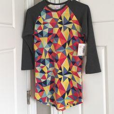 LuLaRoe Randy Shirt XXS Brand New, never worn, still has tags, LuLaRoe XXS Randy shirt, grey sleeves. LuLaRoe Tops Tees - Long Sleeve
