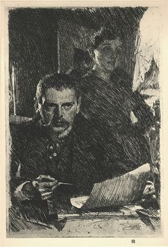Zorn and His Wife Zorn and His Wife Etching, 1890 Anders Zorn - Swedish - Self Portrait with Model II. Etching, Hjert & Hjert State, very rare Signed and annotated. National Gallery Of Art, Figure Drawing, Painting & Drawing, Grafik Art, Drawing Sketches, Drawings, Arte Sketchbook, Illustration, Printmaking