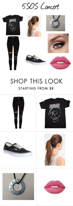 """5sos concert"" by frogcort ❤ liked on Polyvore featuring River Island, Vans, L. Erickson and Lime Crime"