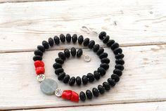 Black Lava Rock Necklace Santorini, Black & Red Jewelry, Coral Lava and Jade, OOAKJewelry, Statement Contemporary Jewelry, Santorini Jewelry on Etsy, $166.78