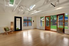 Trendy Home Gym Design Garage Yoga Studios Ideas Yoga Studio Design, Yoga Studio Home, Dance Studio, Garage To Living Space, Garage Room, Garage Studio, Garage Extension, Extension Ideas, Garage Apartment Plans