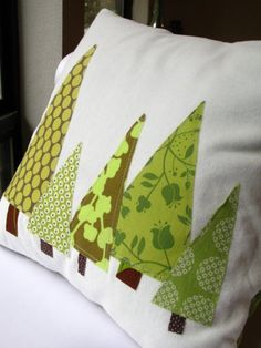 "PILLOW COVER - Holiday Trees in Green (Featured in Better Homes & Gardens and HGTV), 14"", 16"", 18"""