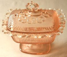 VINTAGE PINK DEPRESSION GLASS RECTANGULAR LIDDED PEDESTAL CANDY DISH