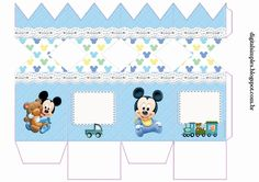 "Kit Personalizados ""Mickey Mouse Baby"" para Imprimir - Convites Digitais Simples                                                                                                                                                                                 Mais Festa Mickey Baby, Minnie Baby, Baby Mouse, Mickey Mouse Birthday, Baby Disney, Disney Mickey, Paper Gift Box, Baby Kit, Mickey And Friends"