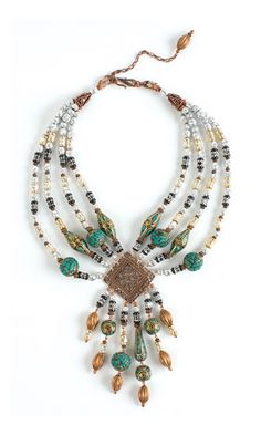 "DIY Multi-Strand Necklace with Aluminum Beads, Copper Beads and Mosaic ""Turquoise"" Gemstone Beads - Fire Mountain Gems and Beads"